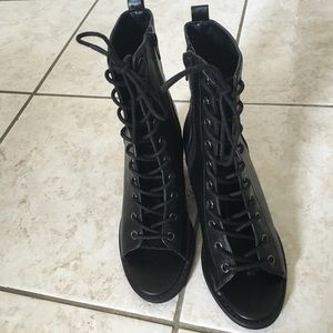 Faux leather lace up Bootie heels