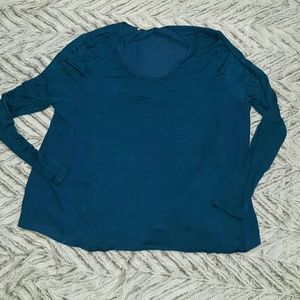 Zenana Outfitters Tops - Semi Sheer Dressy SEA BLUE Stylish Long SLeeve Top
