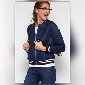 The NEW Boutique Jackets & Blazers - Navy Blue Mesh Bomber Jacket