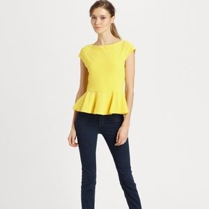 Alice + Olivia Tops - Alice + Olivia Yellow Ella Peplum Top Sz M