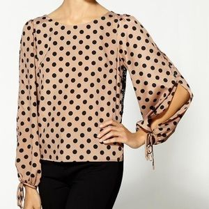 Line & Dot Tops - Lace back blouse. Belled sleeve
