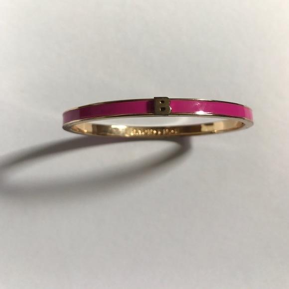 "Baublebar Jewelry - BaubleBar pink resin ""B"" initial bracelet"