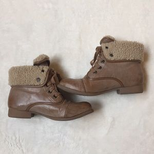 Blowfish Shoes - Tan Boots with Faux Fur Lining