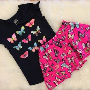 Justice Other - Justice Butterfly Top & Matching Skater Skirt