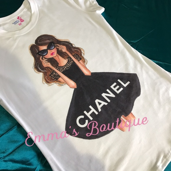 Chanel chanel fashion tee from emma 39 s boutique 39 s closet for Do gucci shirts run small
