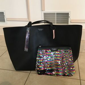 Victoria's Secret Black leather tote with pouch
