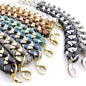 """Jessica Elliot """"Hudson"""" Gold/blue leather bracelet"""