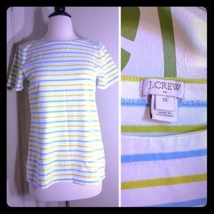 NWOT J.Crew Green Striped T-shirt Size XS