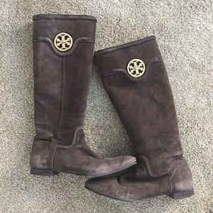 Tory Burch Shoes - Tory Burch Brown Suede Selma Riding Boots