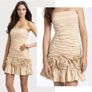 BCBG ruched strapless champagne rosette dress