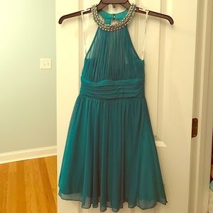 Teal Dress with Pearl Necklace Halter