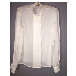 Vintage Sheer Ruffled Tuxedo Style Shirt SZ Small