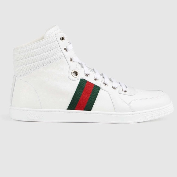61d6f317962c7 Gucci Shoes | Leather White High Tops | Poshmark