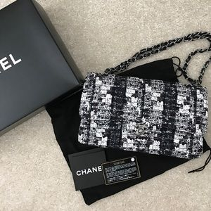 Chanel Tweed double flap handbag