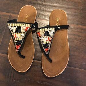 Mari A beaded thong sandals ma-jingle