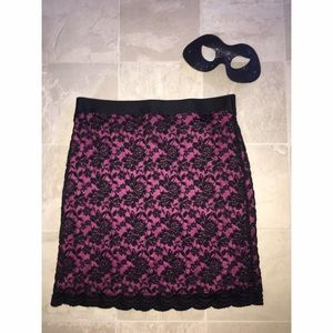 Pink and Black LACE Skirt Sz Large