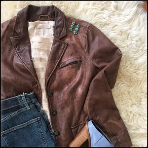 Vince Brown Leather Jacket - size 6