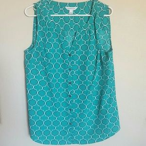 Turquoise button-down tank
