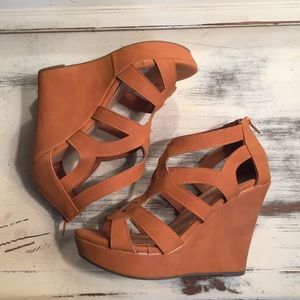 Top Moda Shoes - Tan Wedges