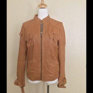 NWOT Calvin Klein Leather Moto Jacket in Camel