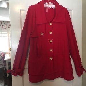 Charlotte Tarantola red, tunic length, pea coat