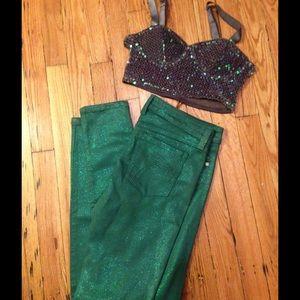 Frankie B. Denim - HP 🌈Frankie B Glitter Green Mermaid Jeans Size 27