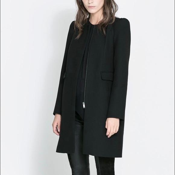 93849202 Zara Jackets & Coats   Nwot Black Box Puff Sleeves Coat Xs   Poshmark