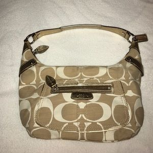 Coach Gold and Beige handbag