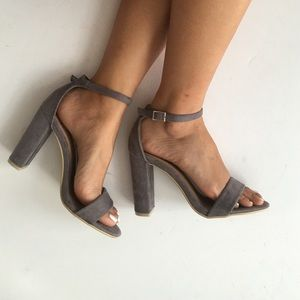 Grey block heel with ankle strap
