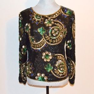 Scala Tops - 🍀 Vintage Colorful Sequin Blouse