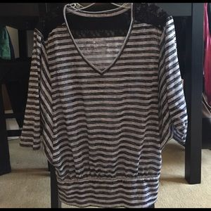 Ideology Tops - Ideology black and gray striped top