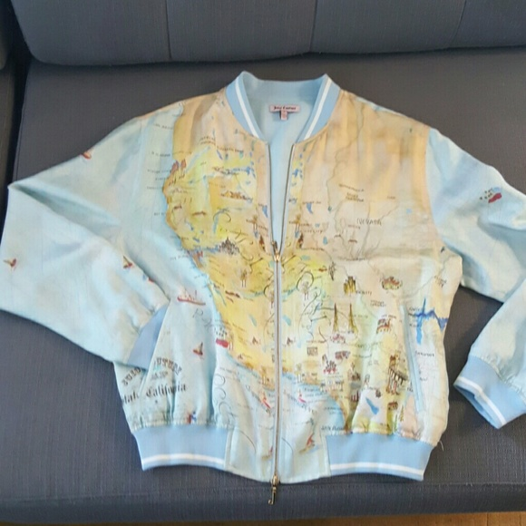 Juicy Couture Jackets Coats Silk Bomber With California Map