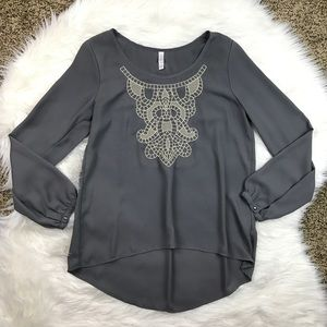 Xhilaration Tops - Xhilaration Grey Embroidered High Low Blouse