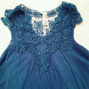 ModCloth Crochet Blue Blouse