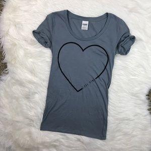 PINK Victoria's Secret Tops - VS Pink Grey Heart T-Shirt