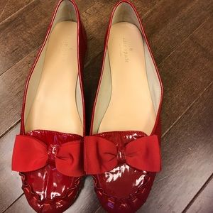 Kate Spade Patent Red Bow Flats