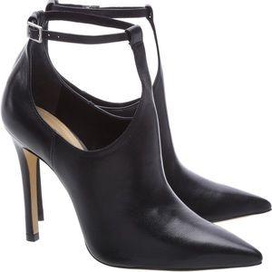 """Black leather """"Rosaflor"""" t-strap ankle boots pumps"""
