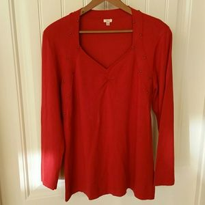 Reba Sweaters - Ruched, Brass-Studded, Rusty/Burnt-Red, Light Top