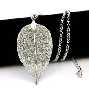Jewelry - Silver Bohemian Pure Natural Leaf Pendant Necklace
