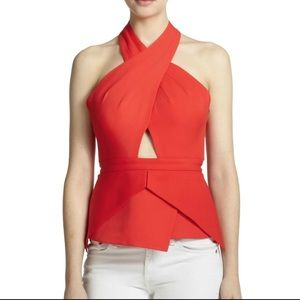 Red peplum BCBG top