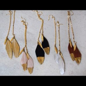 Function & Fringe Jewelry - Gold Dipped Feather Earrings