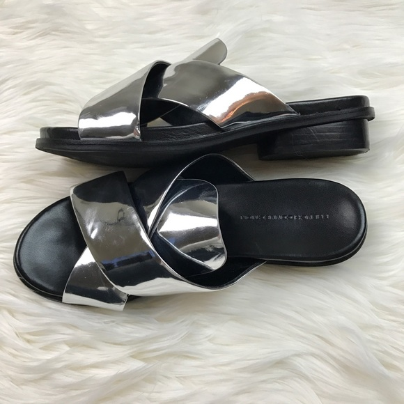 French Connection Shoes - French Connection Basia Metallic Silver Sandals