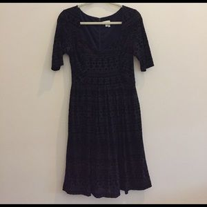 Anthropologie Navy velvet dress