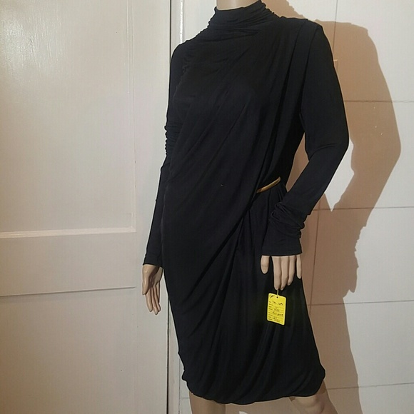 9f9e9a78c11 KRIZIA Draped Avant Garde Black Dress..STUNNING !