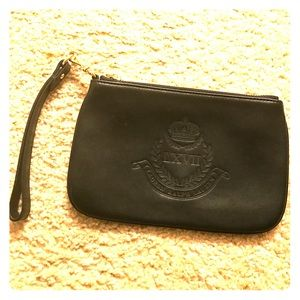 RALPH LAUREN Black Leather Wristlet Clutch Pouch