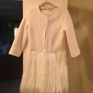 Creamy white pea coat with faux fur bottom