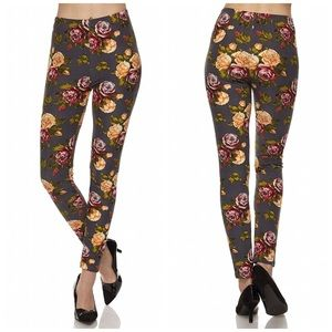 Bchic Pants - Floral Print Brushed Ankle Leggings