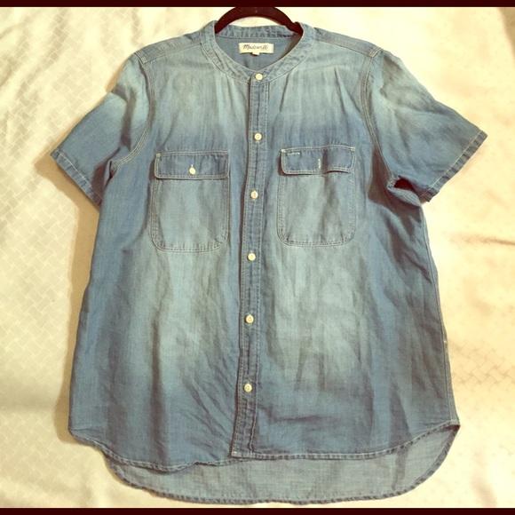 4f5005d45d Madewell Tops - Madewell Collarless Denim Shirt