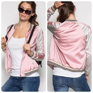 The NEW Boutique Jackets & Blazers - Pink Sporty Satin Bomber Jacket