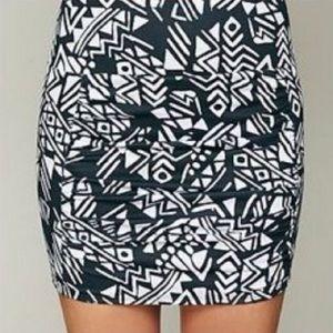 Free People Neo Tribal Mini Scrunch Skirt Size XS